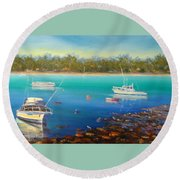 Boats At Merimbula Australia  Round Beach Towel