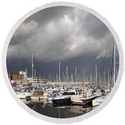 Boats In A Marina Round Beach Towel