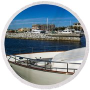 Boats In Port Round Beach Towel