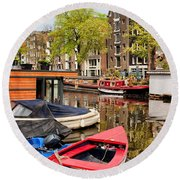 Boats On Canal In Amsterdam Round Beach Towel