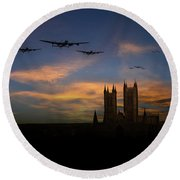 Bombers Over Lincoln  Round Beach Towel