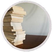 Book Stack On Table Round Beach Towel