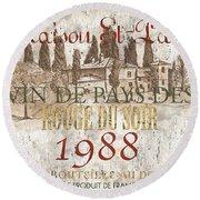 Bordeaux Blanc Label 1 Round Beach Towel