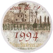 Bordeaux Blanc Label 2 Round Beach Towel
