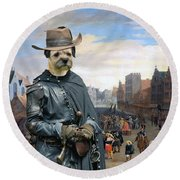 Border Terrier Art Canvas Print Round Beach Towel