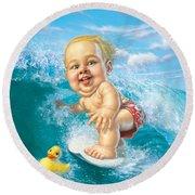 Born To Surf Round Beach Towel