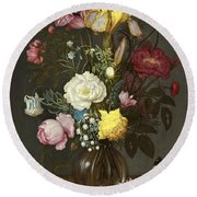 Bouquet Of Flowers In A Glass Vase Round Beach Towel