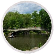 Bow Bridge Central Park Round Beach Towel