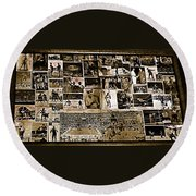 Boxing Collage Virginian Hotel Saloon Medicine Bow Wyoming 1971-2008 Sepia Toned Round Beach Towel
