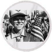 Boy Scout Veteran's Day Parade Tucson Arizona 1990 Black And White Round Beach Towel