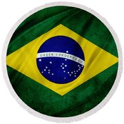Brazilian Flag Round Beach Towel