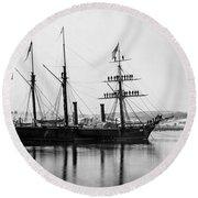Brazilian Steamship, 1863 Round Beach Towel