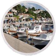 Brela Harbour Croatia Round Beach Towel