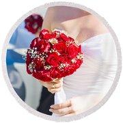 Bride Holding Red Rose Flower Bunch Round Beach Towel