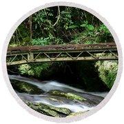 Bridge Over Mountain Stream Round Beach Towel