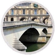 Bridge Over The Seine Round Beach Towel