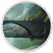 Bridge To Nowhere Round Beach Towel
