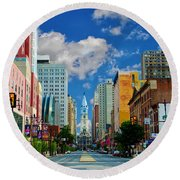 Broad Street - Avenue Of The Arts Round Beach Towel