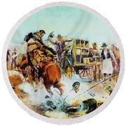 Bronc For Breakfast Round Beach Towel