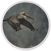 Brown Pelican 2 Round Beach Towel
