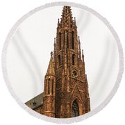 Brownstone Church Round Beach Towel