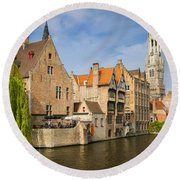 Bruges Canals Round Beach Towel