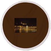 Budapest At Night Round Beach Towel
