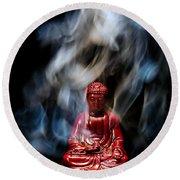Buddha In Smoke Round Beach Towel