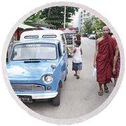 Buddhist Monks In Yangon Street Myanmar Round Beach Towel