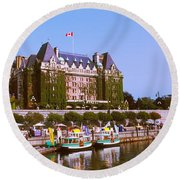 Buildings At The Waterfront, Empress Round Beach Towel