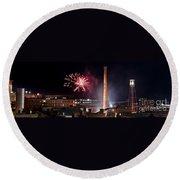 Bull Durham Fireworks Round Beach Towel