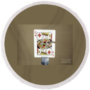 Bullet Piercing Playing Card Round Beach Towel by Gary S. Settles