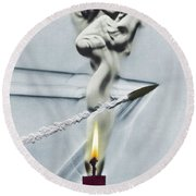 Bullet Shot Through Candle Flame Round Beach Towel