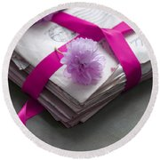 Bundle Of Old Love Letters Tied With Ribbon And Blossom Round Beach Towel