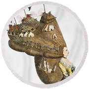 Bunker Hill: Cartoon, 1776 Round Beach Towel