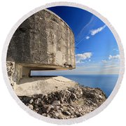Bunker Over The Sea Round Beach Towel
