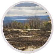 Burnt Blueberry Field In Maine Round Beach Towel