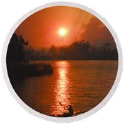 Bushfire Sunset Over The Lake Round Beach Towel