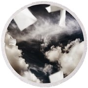 Business Papers Falling In The Sky Round Beach Towel