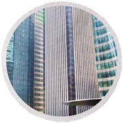 Business Skyscrapers Modern Architecture Round Beach Towel