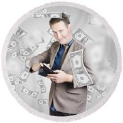 Businessman Under Falling Money. Financial Success Round Beach Towel