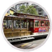 Cable Car On Turntable San Francisco Round Beach Towel