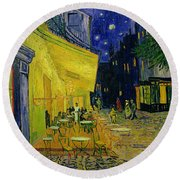 Cafe Terrace Arles Round Beach Towel by Vincent van Gogh