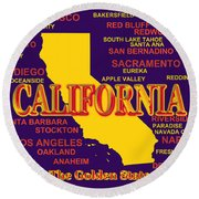California State Pride Map Silhouette  Round Beach Towel