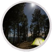 Camping On The Rim Round Beach Towel