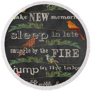 Camping Rules-d Round Beach Towel