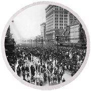 Canal Street In New Orleans Round Beach Towel