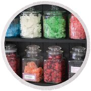 Candy In Container On Store Shelf Round Beach Towel