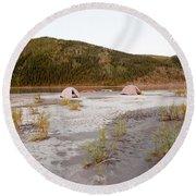 Canoe Tent Camp At Yukon River In Taiga Wilderness Round Beach Towel