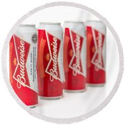 Cans Of Budweiser Beer Round Beach Towel